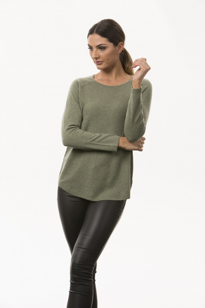Textured Knit Crew Neck Pullover