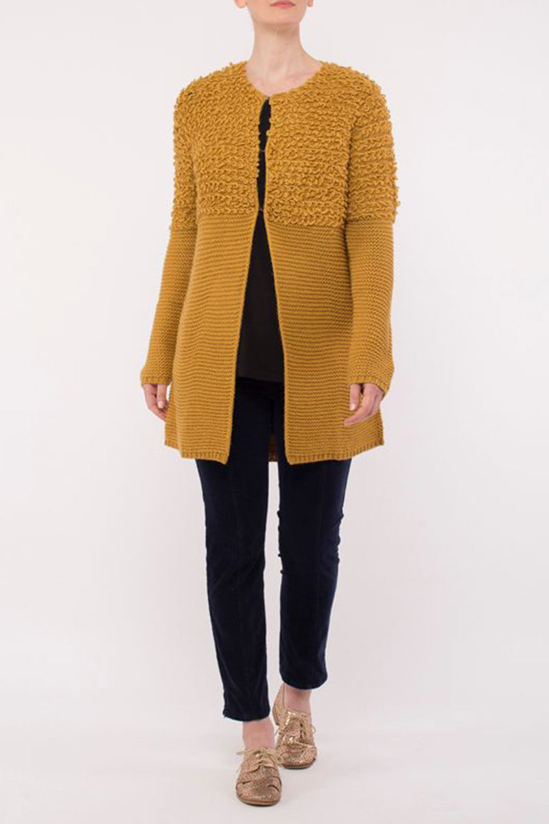 Loop Texture Long Line Cardigan