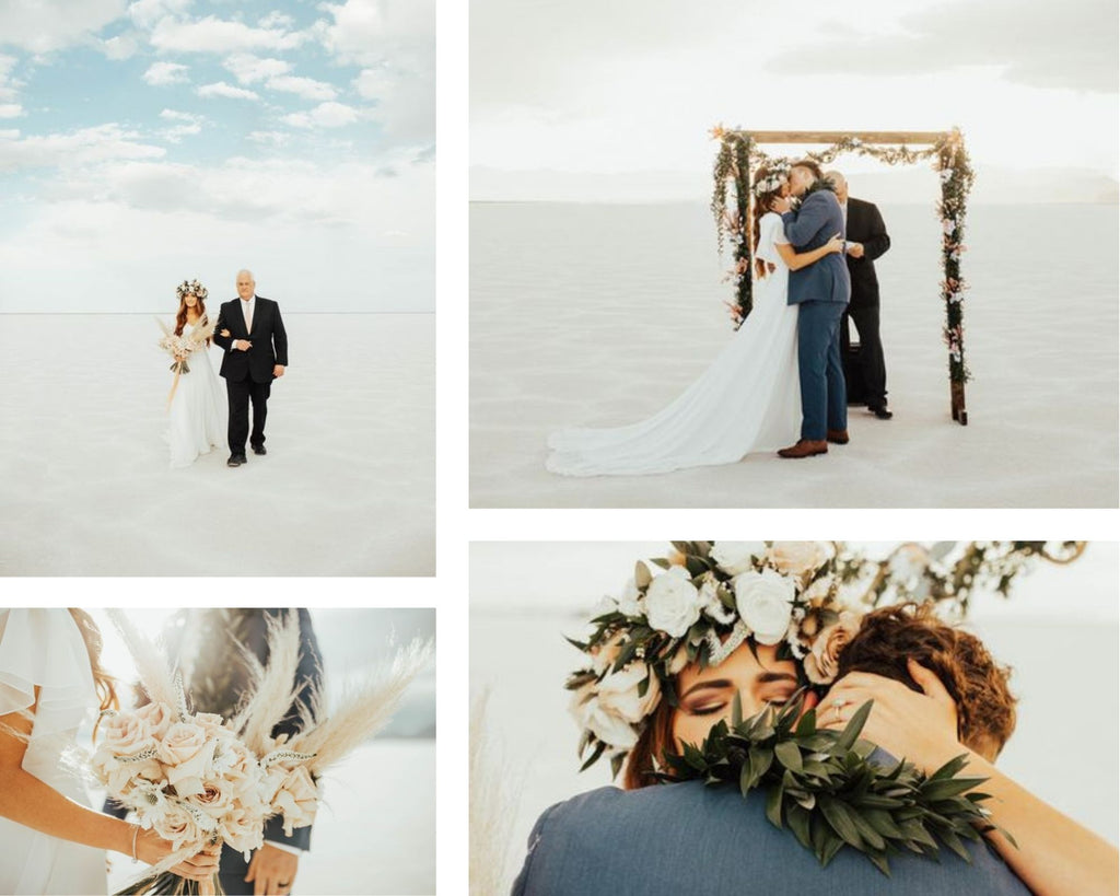 Collage of bride and groom's photos