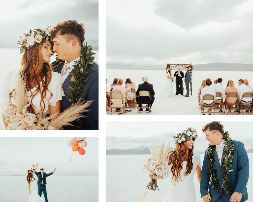 Collage of bride and groom's photos.