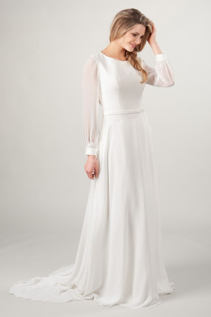 Long sleeve modest wedding dress from LatterDayBride, a modest wedding shop in Salt Lake City, Utah