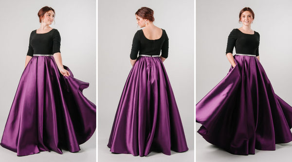 Purple Modest Prom Ballgown