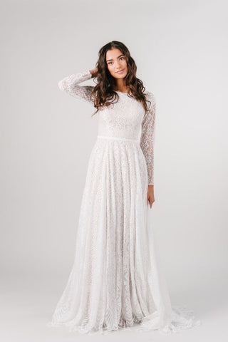 Modest lace wedding dress