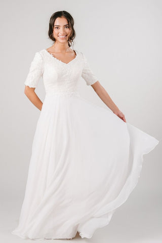 Modest simple wedding dress