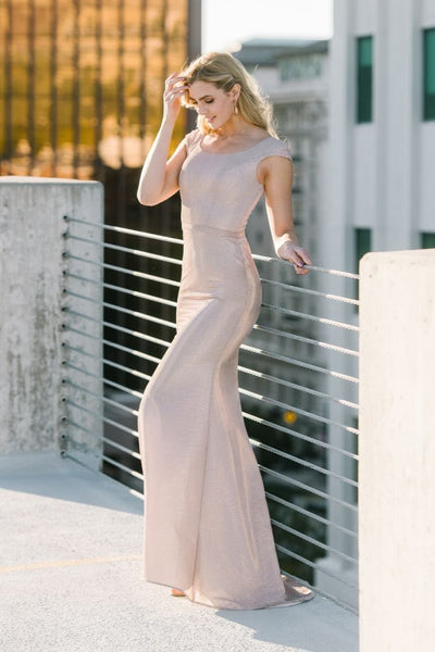 Rose Gold Modest Prom Dress