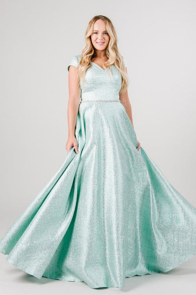 Green Modest Prom Dress