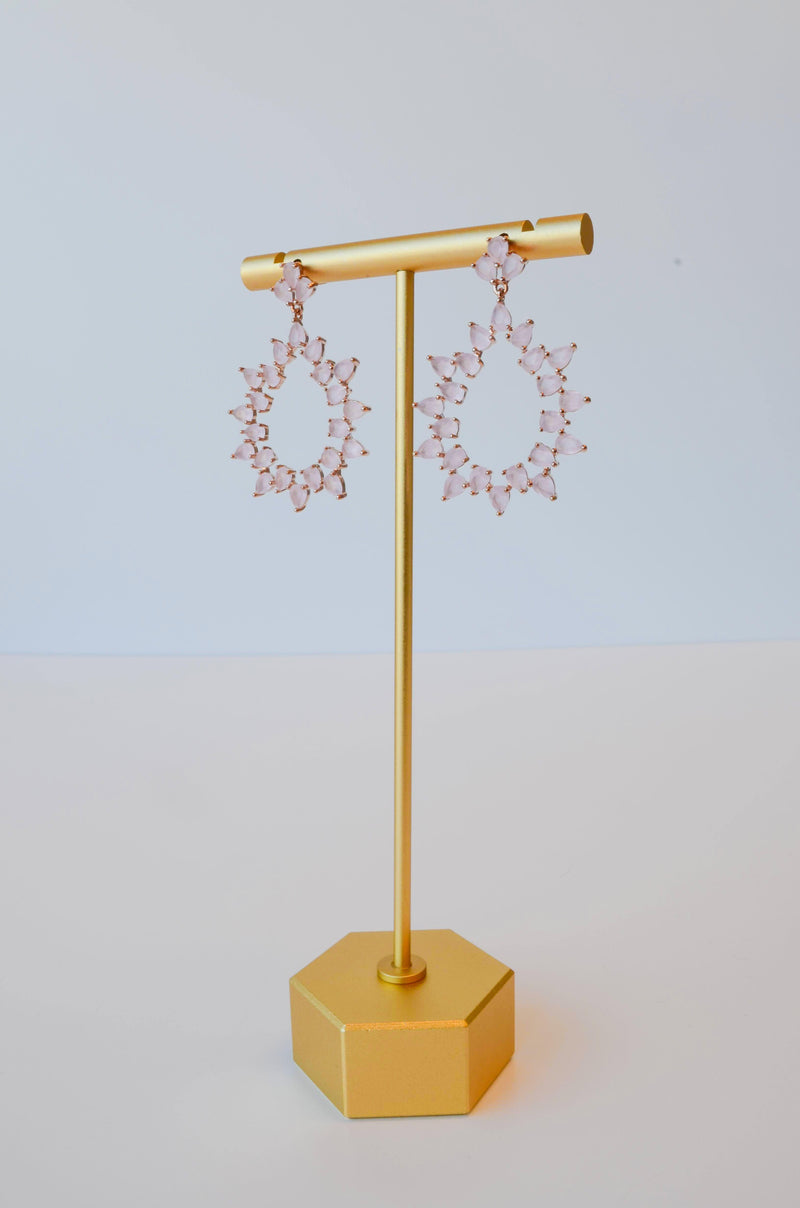 pink crystal dangling earrings from bridal shop in salt lake city utah