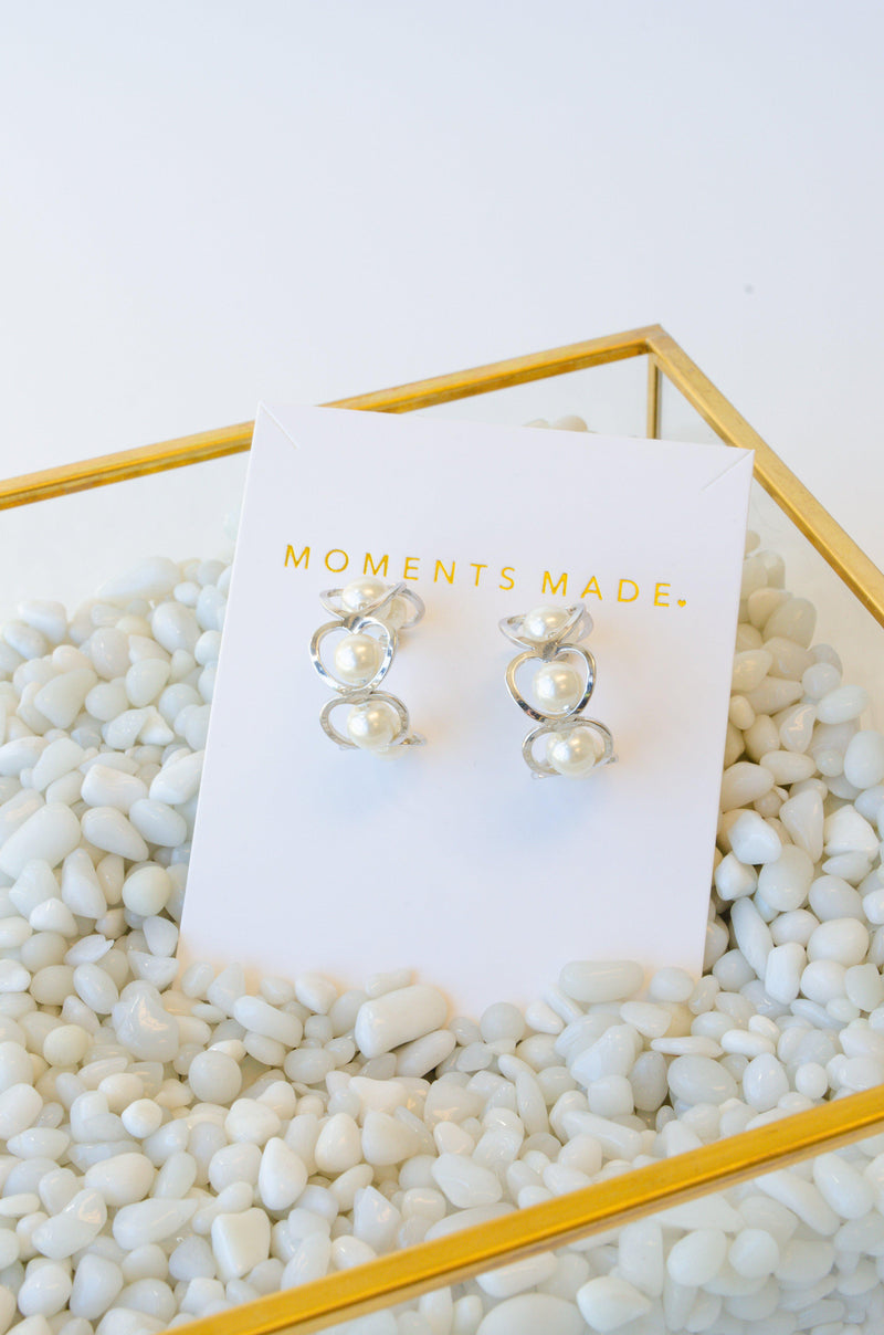 Silver hooped earrings with pearls from bridal shop in salt lake city utah