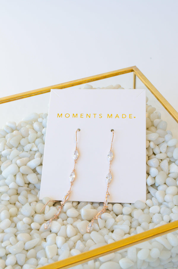 Rose Gold lining crystal drop earrings
