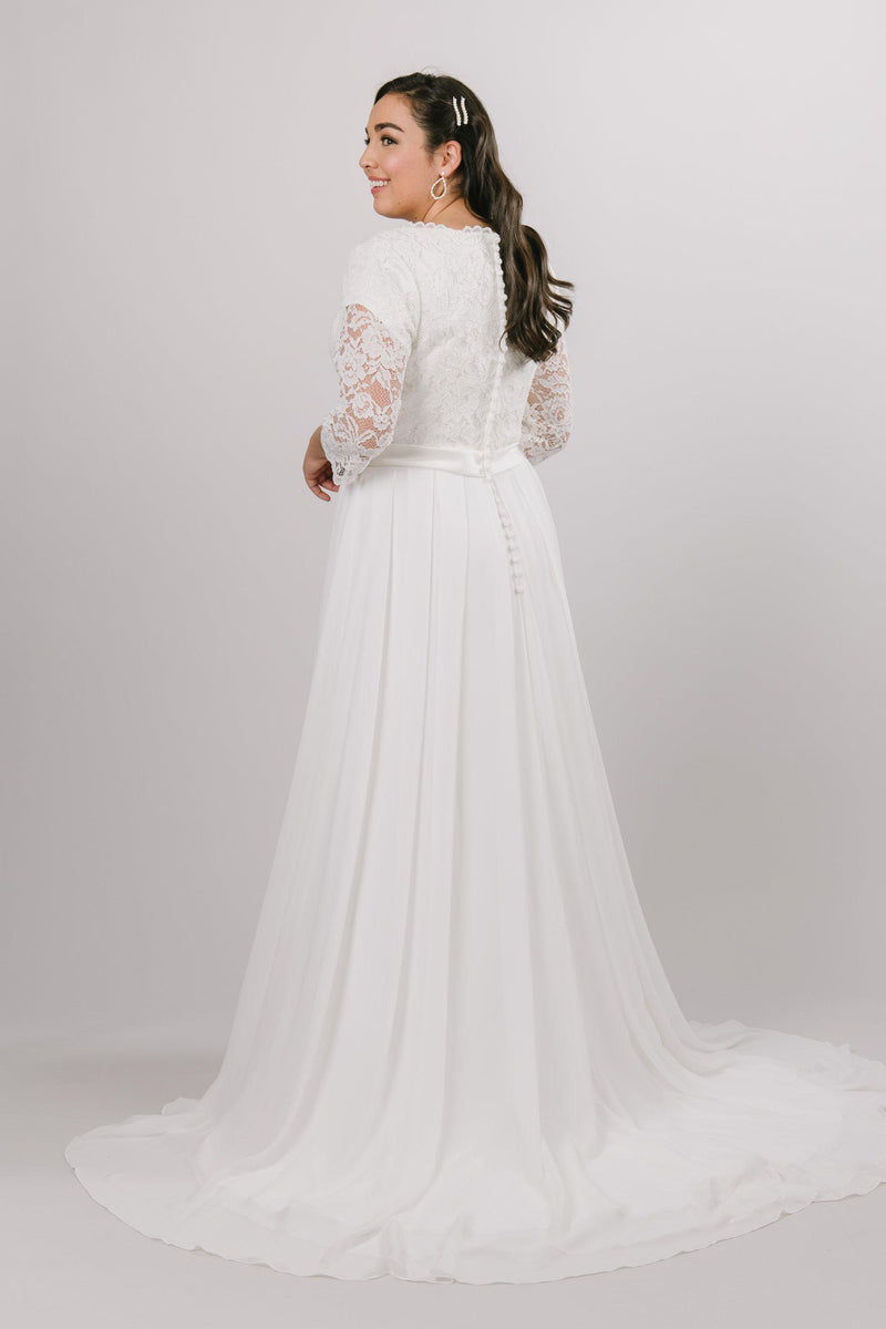 Back of Modest chiffon wedding dress,, style Haven, is part of the Wedding Collection of LatterDayBride, a Salt Lake City bridal store.