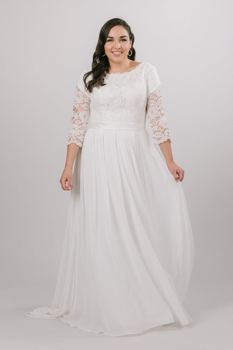 Back of Modest chiffon wedding dress, style Haven, is part of the Wedding Collection of LatterDayBride, a Salt Lake City bridal store.
