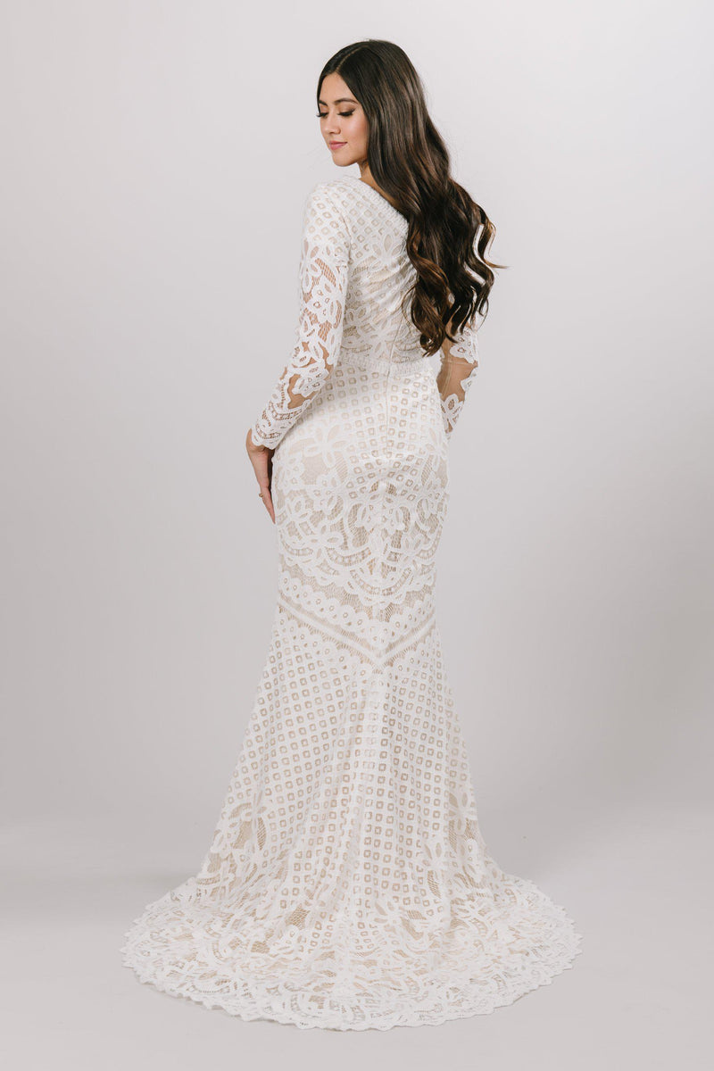 Lace wedding gown with long sleeves, style Lorna, is part of the Wedding Collection of LatterDayBride, a Salt Lake City bridal shop.