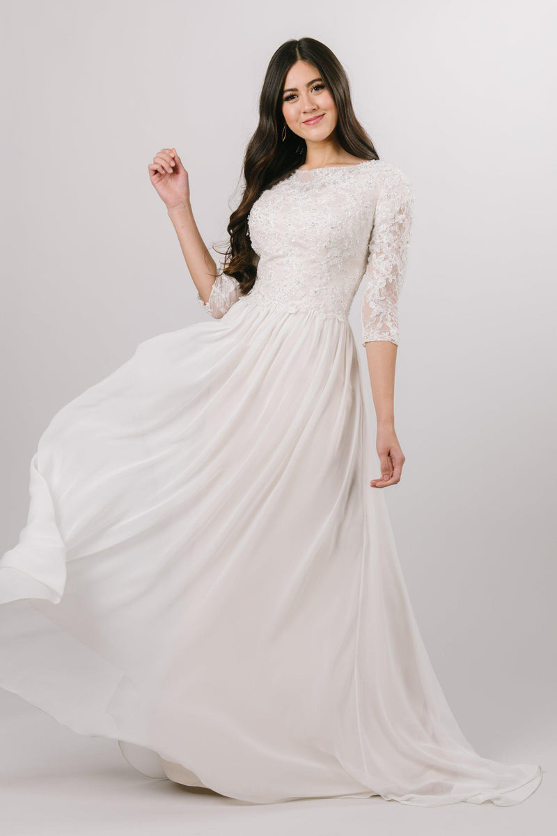 Boho chic wedding gown, style Quentin, is part of the Wedding Collection of LatterDayBride, a Salt Lake City bridal store.