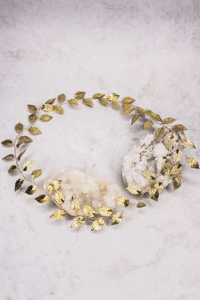 Extra long gold leaf vine. Perfect for wrapping around a braid or a full halo.