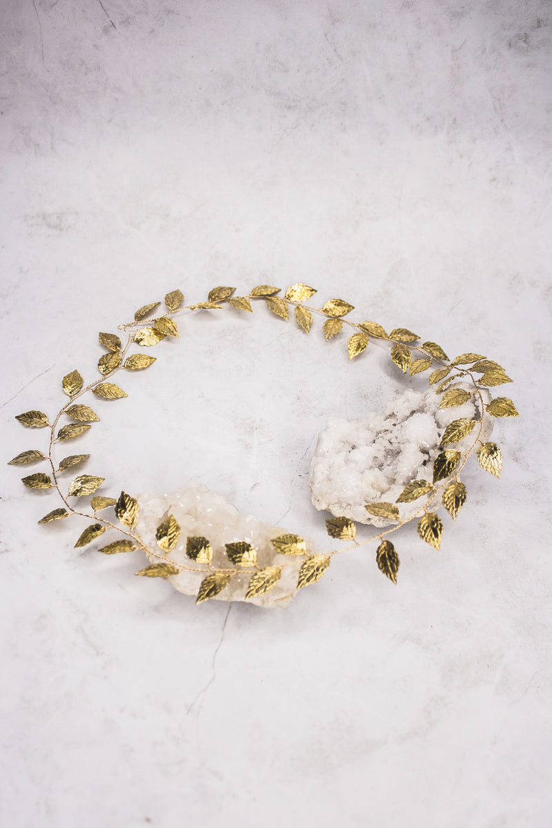 Extra long gold leaf vine. Perfect for wrapping around a braid or a full halo. From a bridal shop in