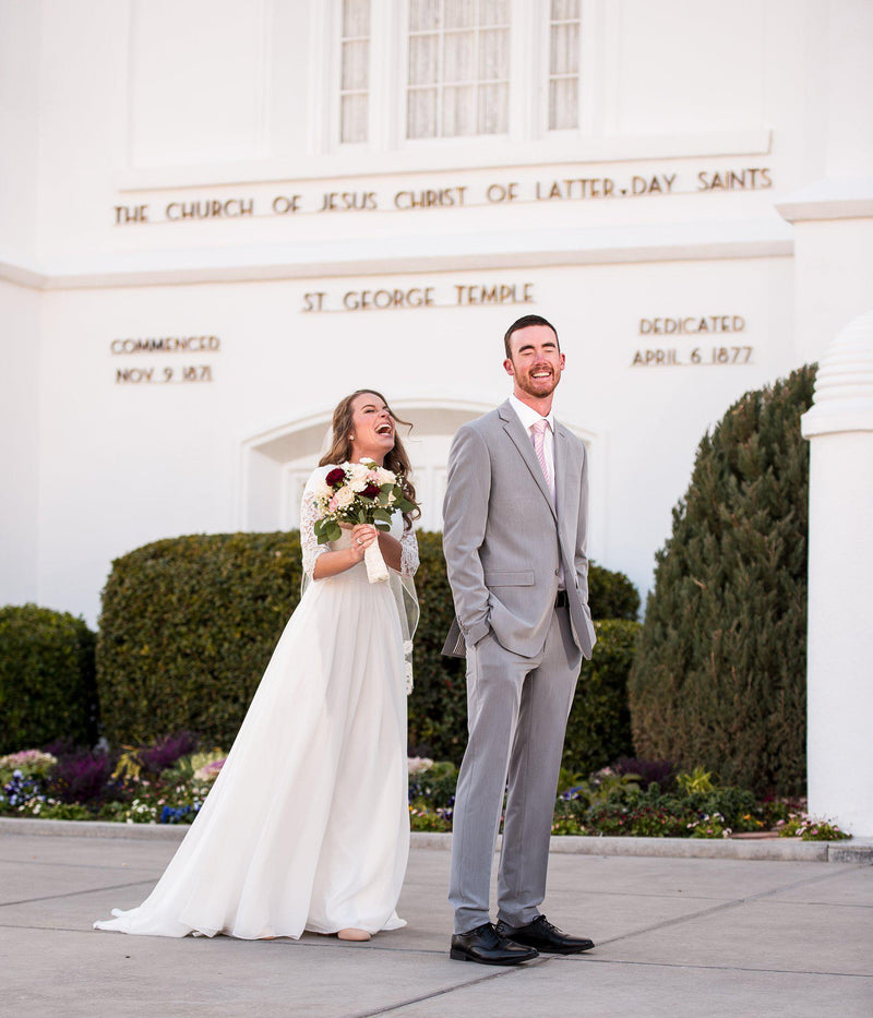 Real bride wearing a Modest chiffon wedding dress,, style Haven, is part of the Wedding Collection of LatterDayBride, a Salt Lake City bridal store.
