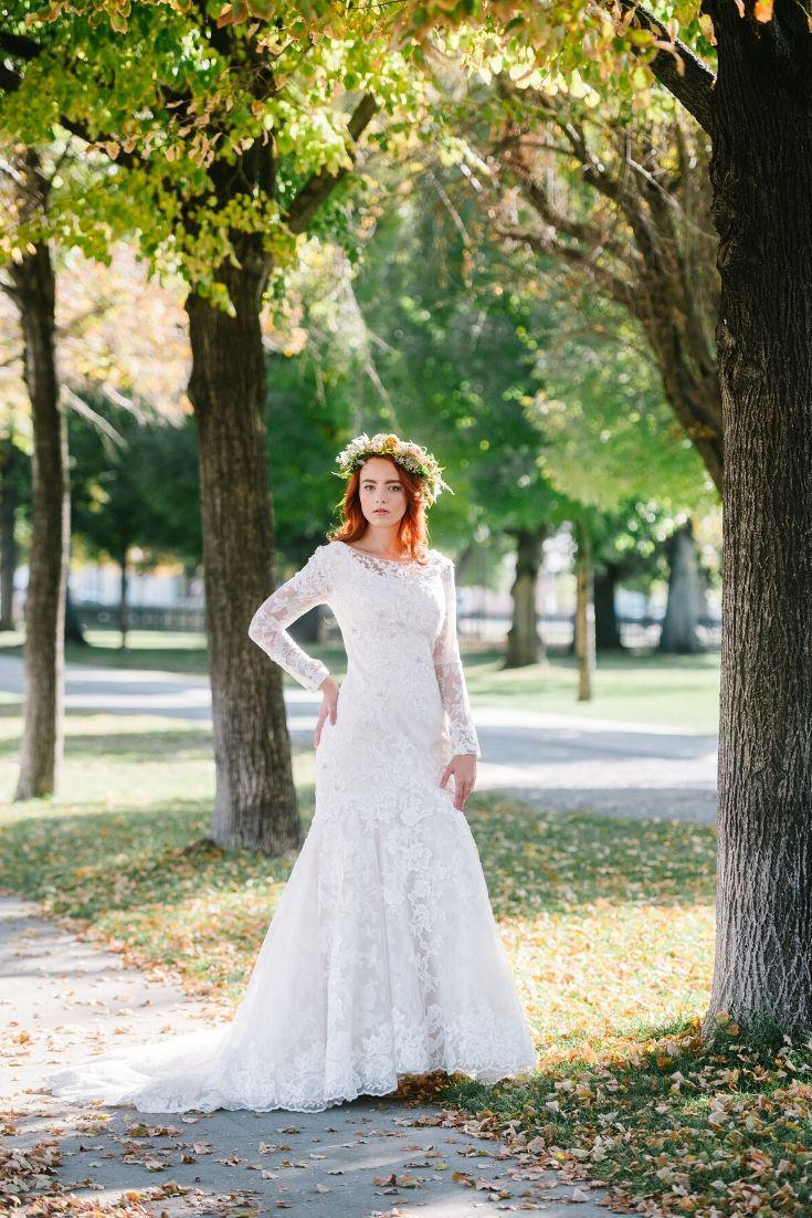 Mermaid modest wedding dress with long sleeves from LatterDayBride, a modest bridal shop in Salt Lake City, Utah.