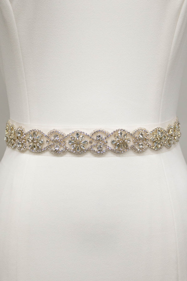 Silver Oval Flower Belt
