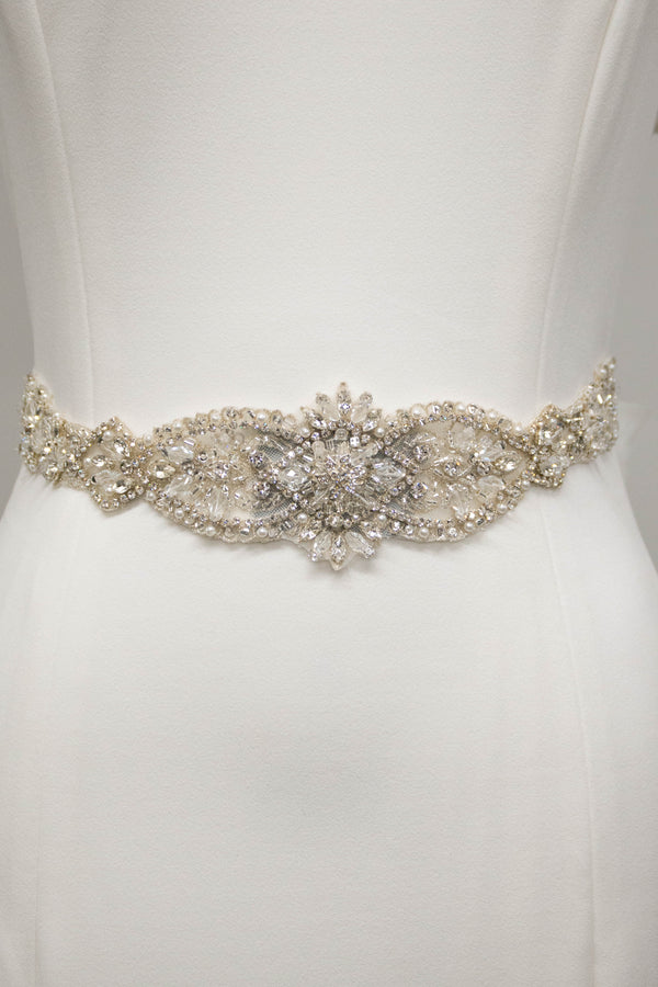 Front view of a Minimal bridal belt from LatterDayBride, a bridal shop in Salt Lake City, Utah.