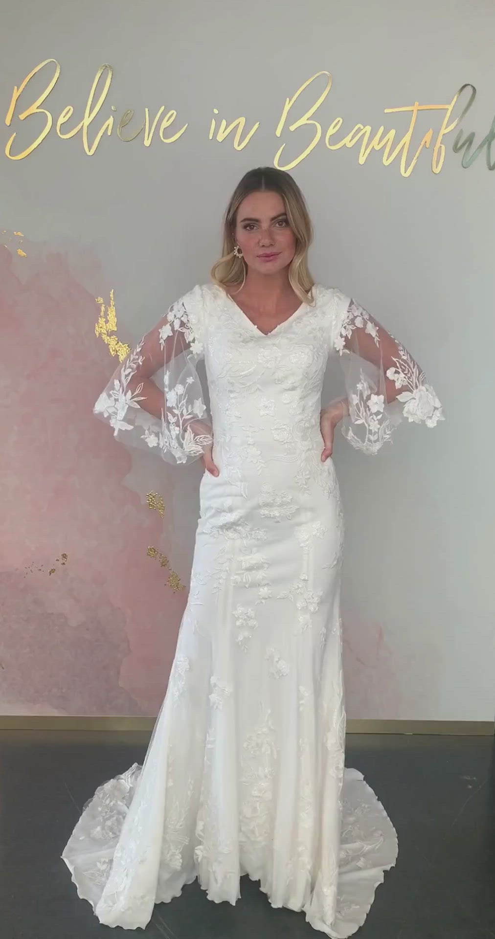 A video featuring our Maisie wedding dress and its trendy boho flutter sleeves, subtle fit and flare silhouette, and V-neckline.