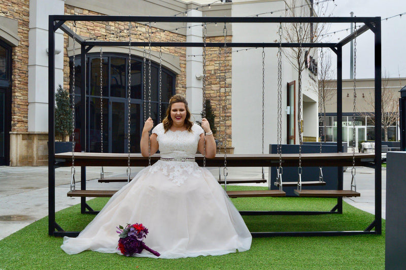 plus size real bride wearing a Modest  ballgown, style Dakota, is part of the LatterDayBride Collection, a Salt Lake City bridal shop.