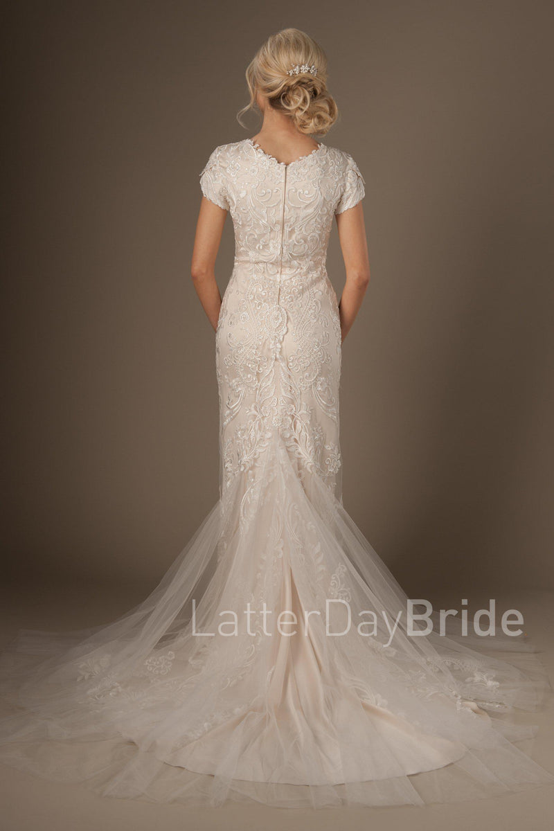 Back of Modest fit and flare wedding gown, style Enchancia, is part of the LatterDayBride Collection, a Utah bridal shop.