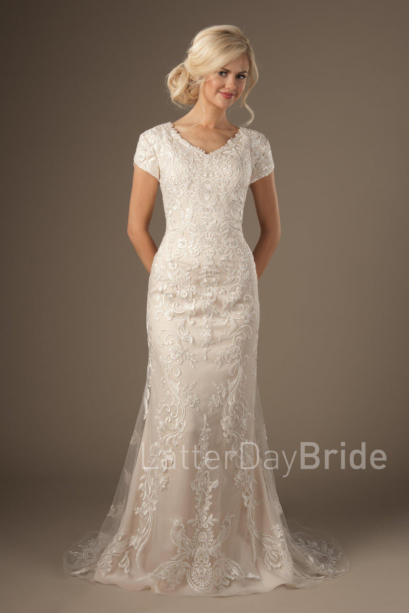 Modest fit and flare wedding gown, style Enchancia, is part of the LatterDayBride Collection, a Utah bridal shop.