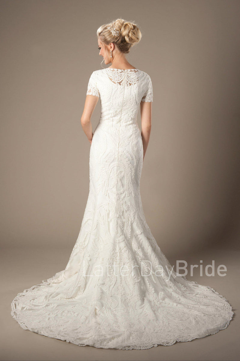 Back of Lovely modest wedding dress with lace, style Palisade, is part of the Wedding Collection of LatterDayBride, a Salt Lake City bridal store.