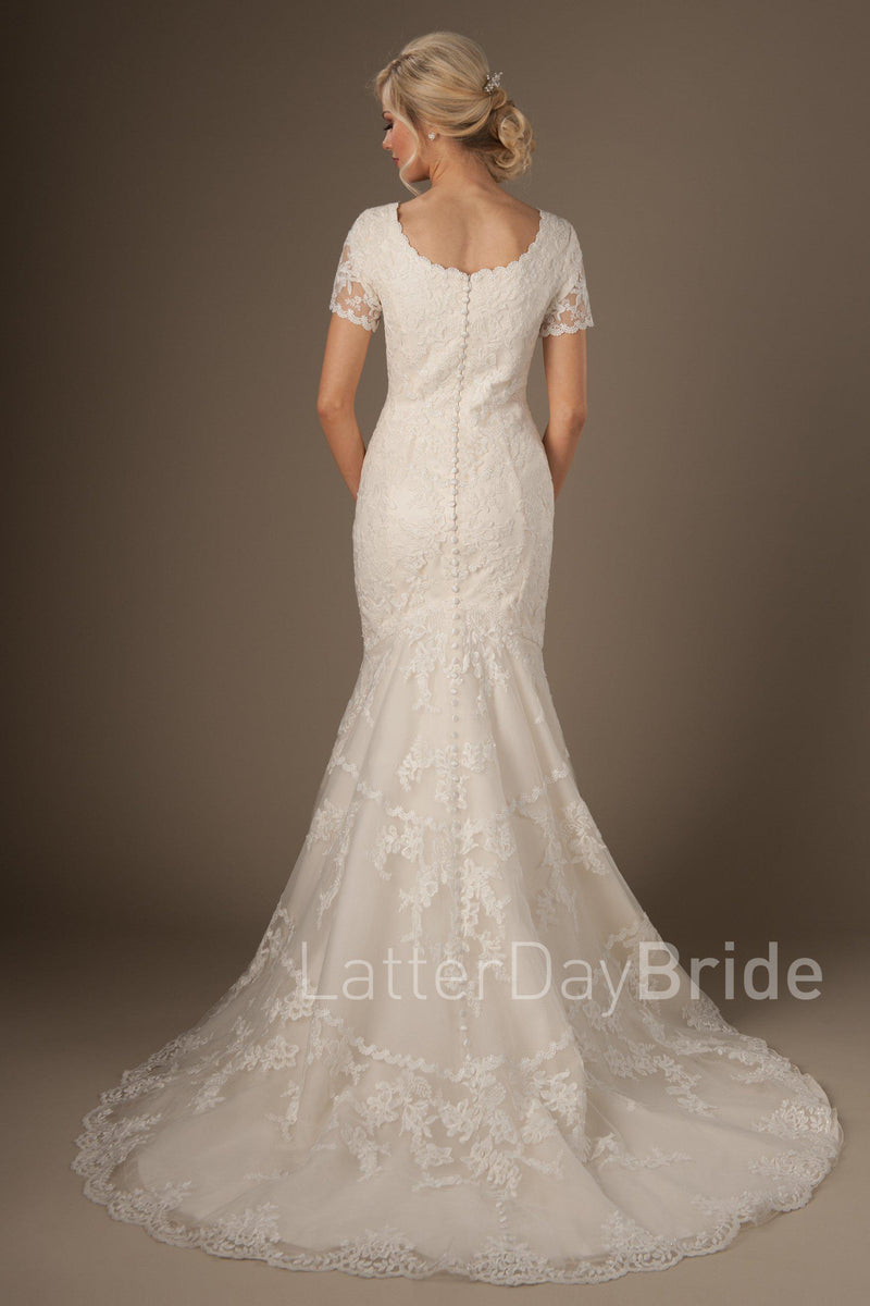Back of Timeless look modest wedding gown, style Rosemary, is part of the Wedding Collection of LatterDayBride, a Utah Wedding Shop.