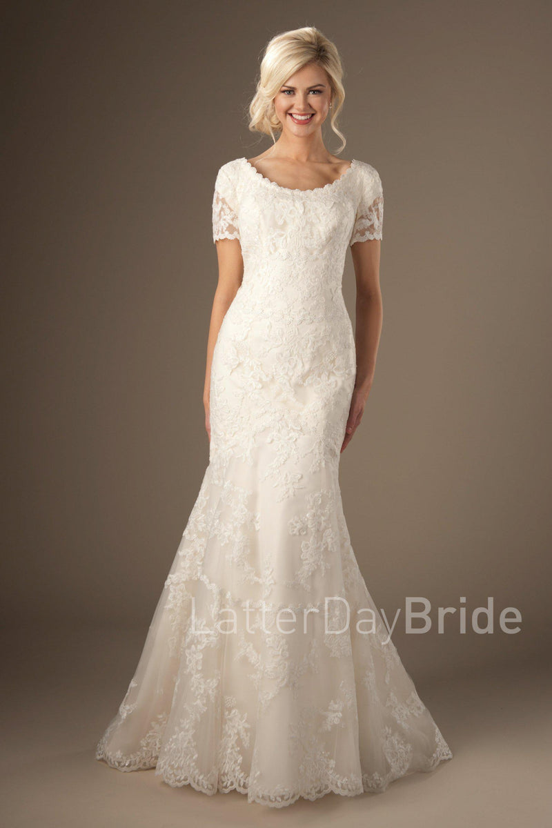 Timeless look modest wedding gown, style Rosemary, is part of the Wedding Collection of LatterDayBride, a Utah Wedding Shop.