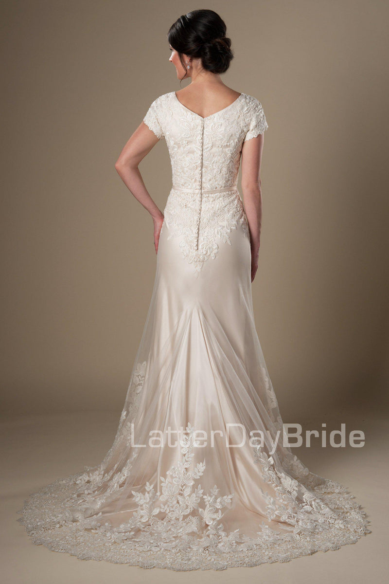 modest wedding dress features a v-neckline, delicate lace sleeves and a fabulous draping sheath silhouette finished with wide lace scalloping, modest wedding gowns, salt lake city, back view