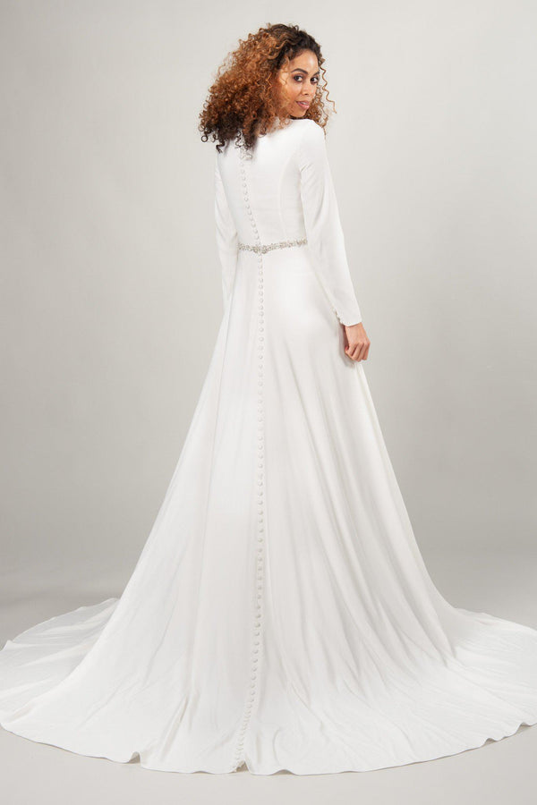 modest wedding dresses at LatterDayBride, the Camille with crepe material and beaded belt in ivory