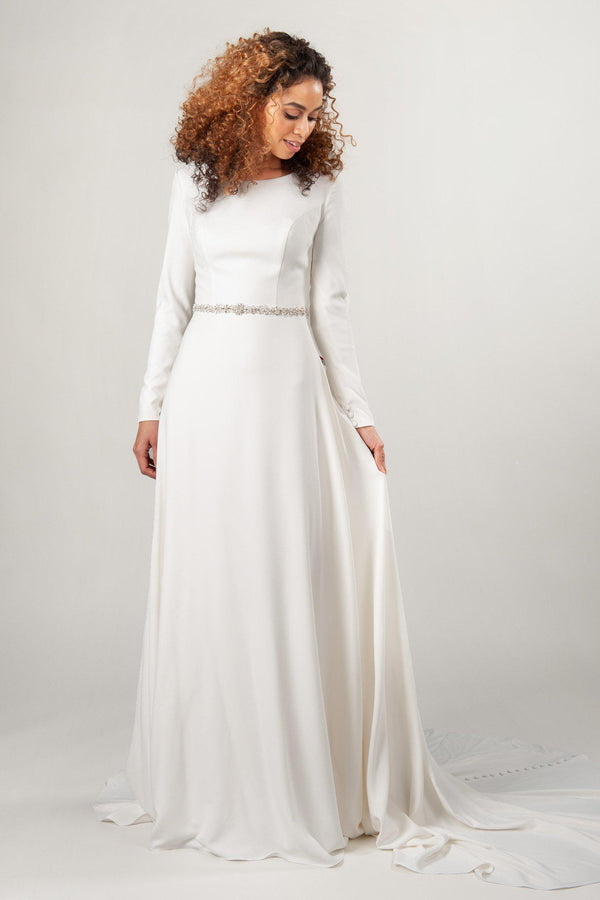 Megan Markle wedding dress with beaded belt and crepe material, modest wedding dresses at LatterDayBride