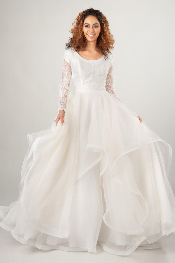 dramatic modest wedding dresses with long sleeves, horsehair skirt and scoop neck, the Dahlia