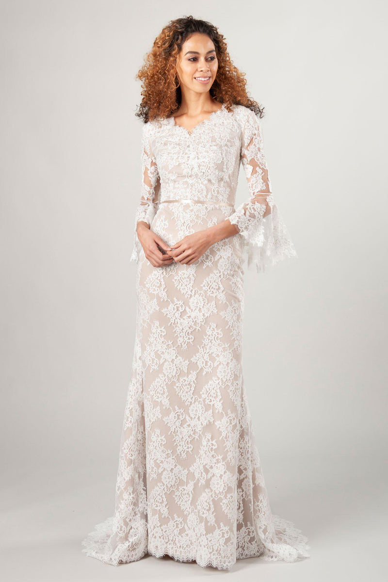 long sleeve modest wedding dresses, the Giselle in nude/ivory at LatterDayBride, a wedding dress shop in SLC