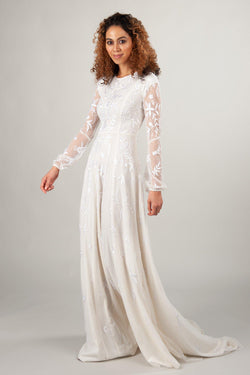 long sleeve modest wedding dresses with embroidery and flowing skirt, the Lindir at LatterDayBride