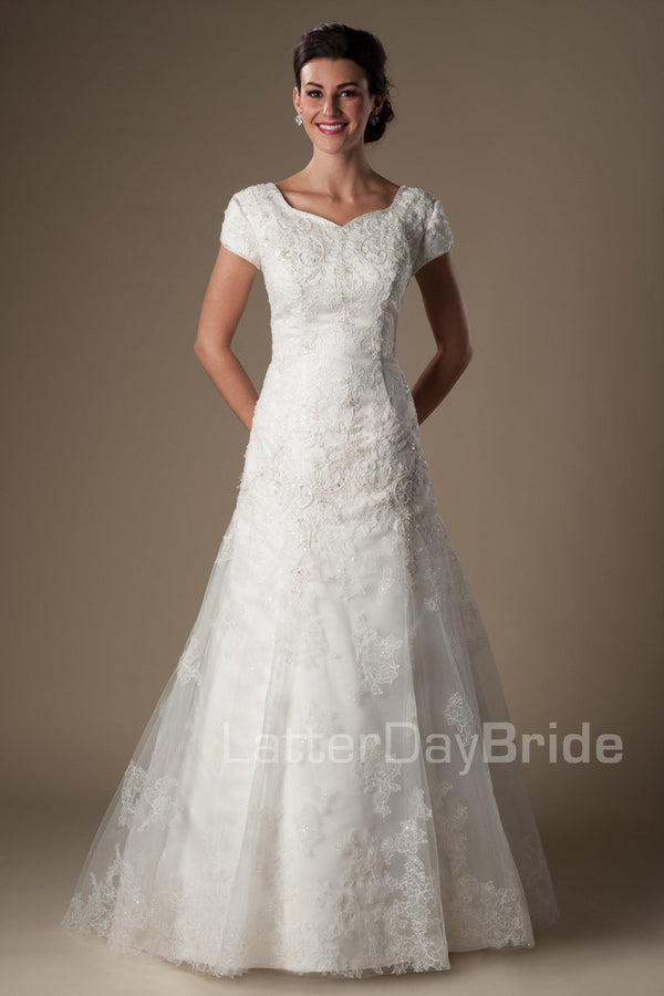soft lace pattern with a slight dropped waist cascading into an Aline skirt scattered with delicate beadwork throughout the soft lace, modest wedding gowns in salt lake city