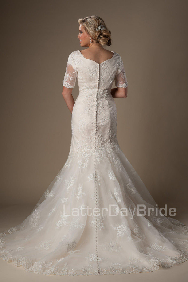 Back of Modest wedding gown with darling lace pattern , style Esperanza, is part of the LatterDayBride Collection, a Utah bridal shop.