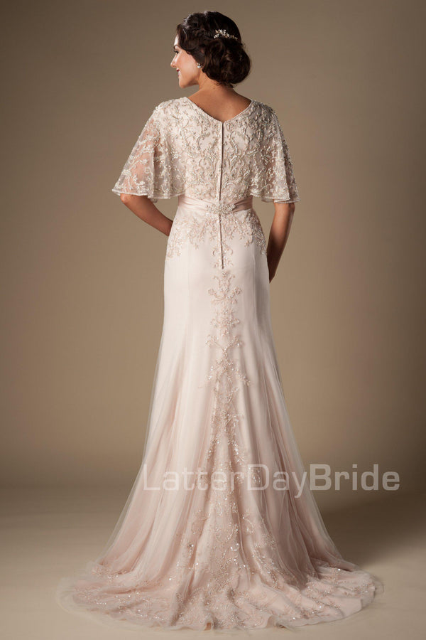 Fabulous v-neck sheath wedding dress, style Primrose, is part of the Wedding Collection of LatterDayBride, a Salt Lake City bridal store.