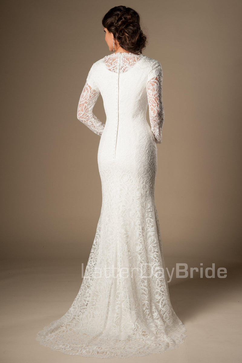 Back of Stunning modest long sleeved bridal gown, style Tyrion, is part of the Wedding Collection of LatterDayBride, a Utah Wedding Shop.