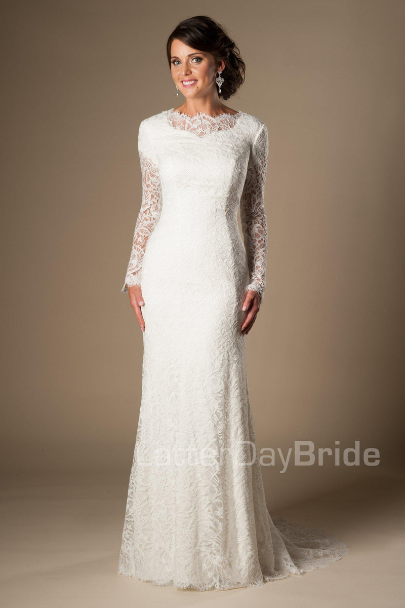 Stunning modest long sleeved bridal gown, style Tyrion, is part of the Wedding Collection of LatterDayBride, a Utah Wedding Shop.