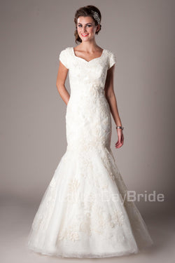 full A-line skirt with a Princess sweetheart neckline, modest utah wedding gowns, front view