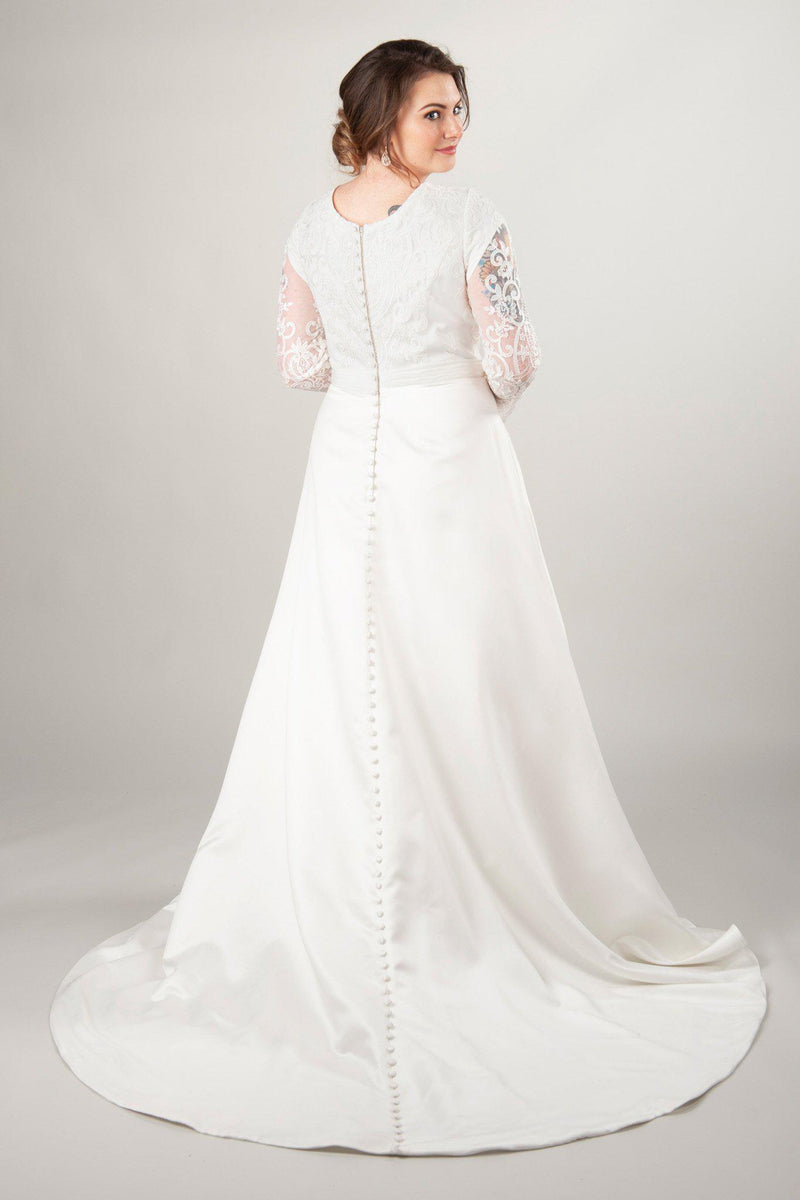 back of the Adrienne, a modest wedding dress at LatterDayBride with long lace sleeves