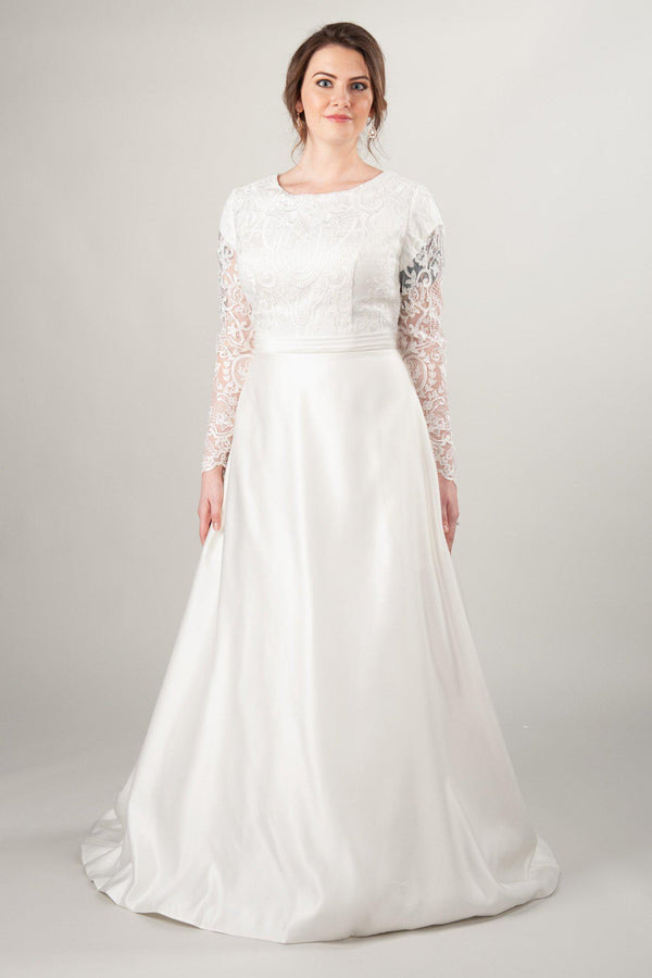 modest wedding dresses with long sleeves and satin skirt, LatterDayBride in Salt Lake City