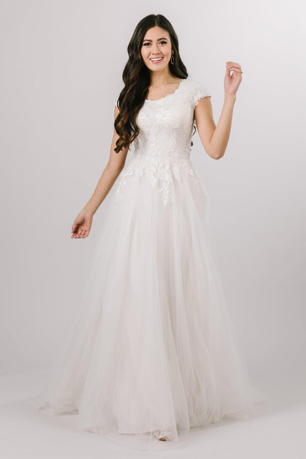 A-line Modest Wedding Dress with Leafy Lace from Bridal shop in salt lake city utah