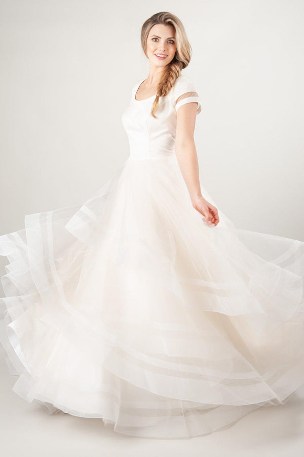 modest wedding dresses with tulle and horsehair skirt, ballgown at LatterDayBride