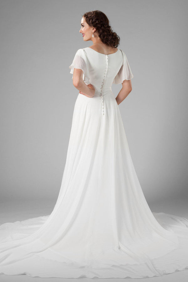 flutter sleeve, modest wedding dress, salt lake city, utah, back view