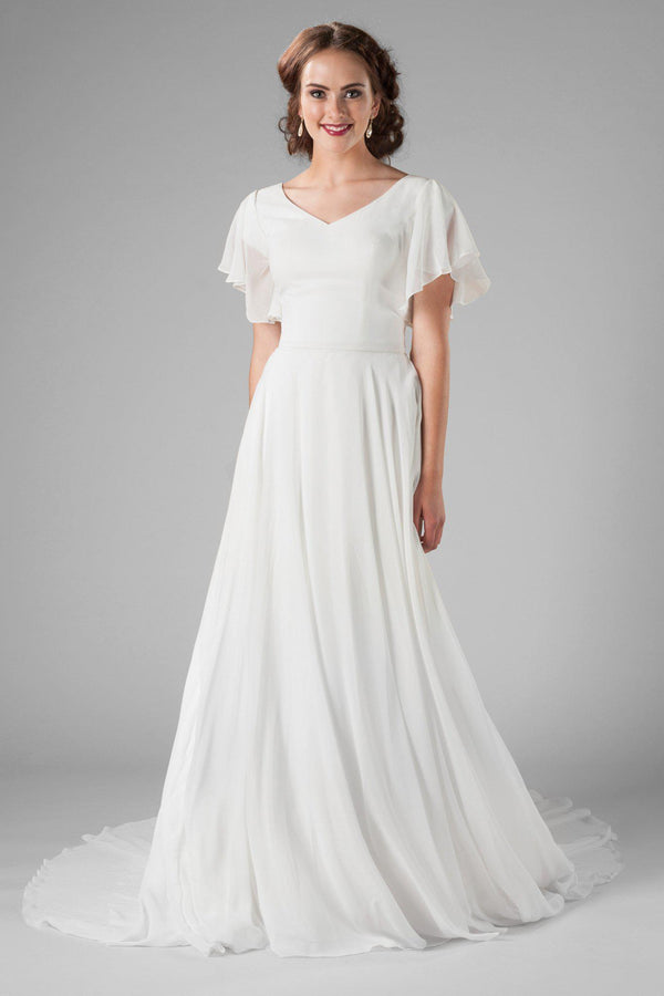 flutter sleeve, modest wedding dress, salt lake city, utah, front view