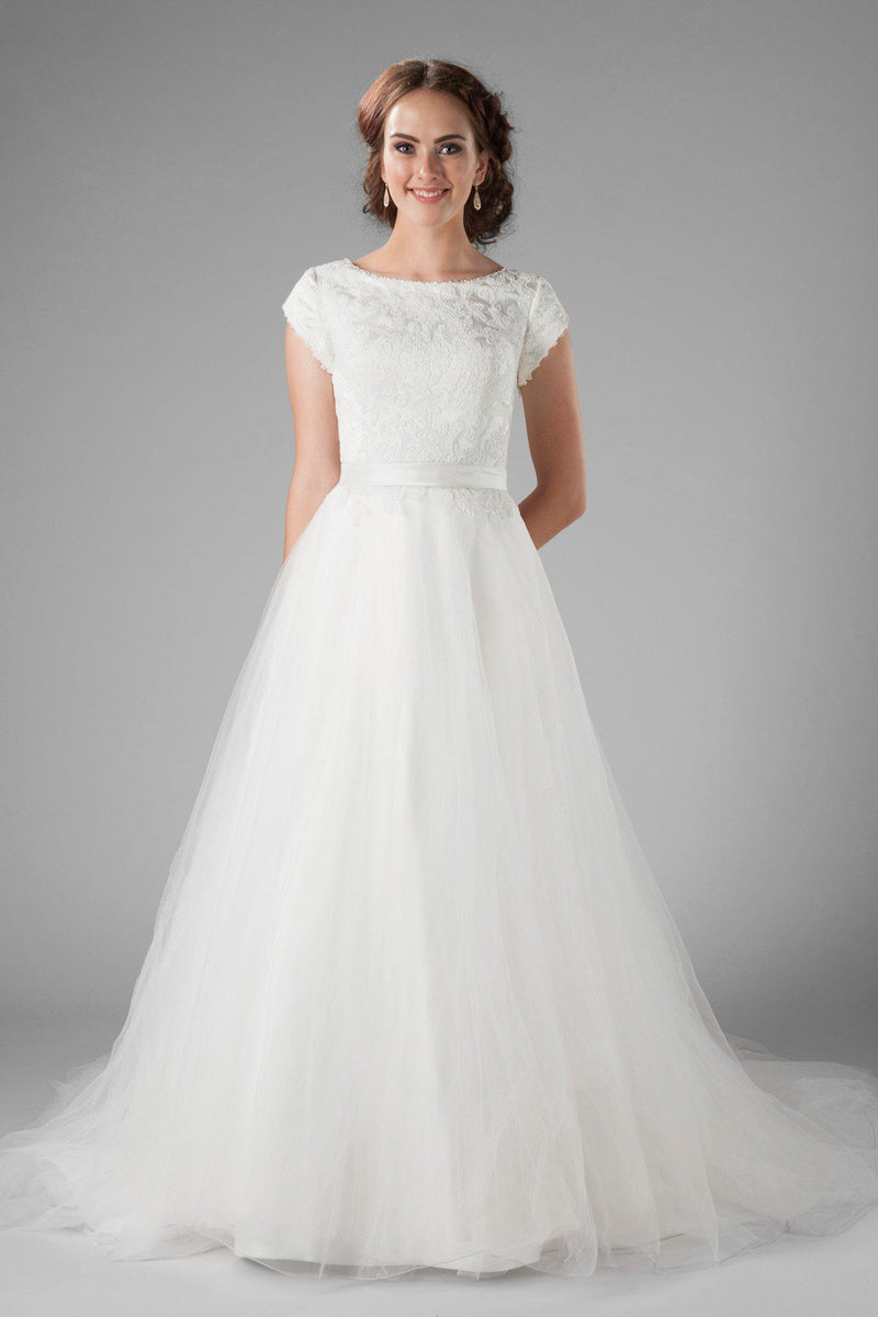 The delicate petal sleeves, the wide boat neckline and the flattering cinched waist, modest wedding dresses salt lake, front view