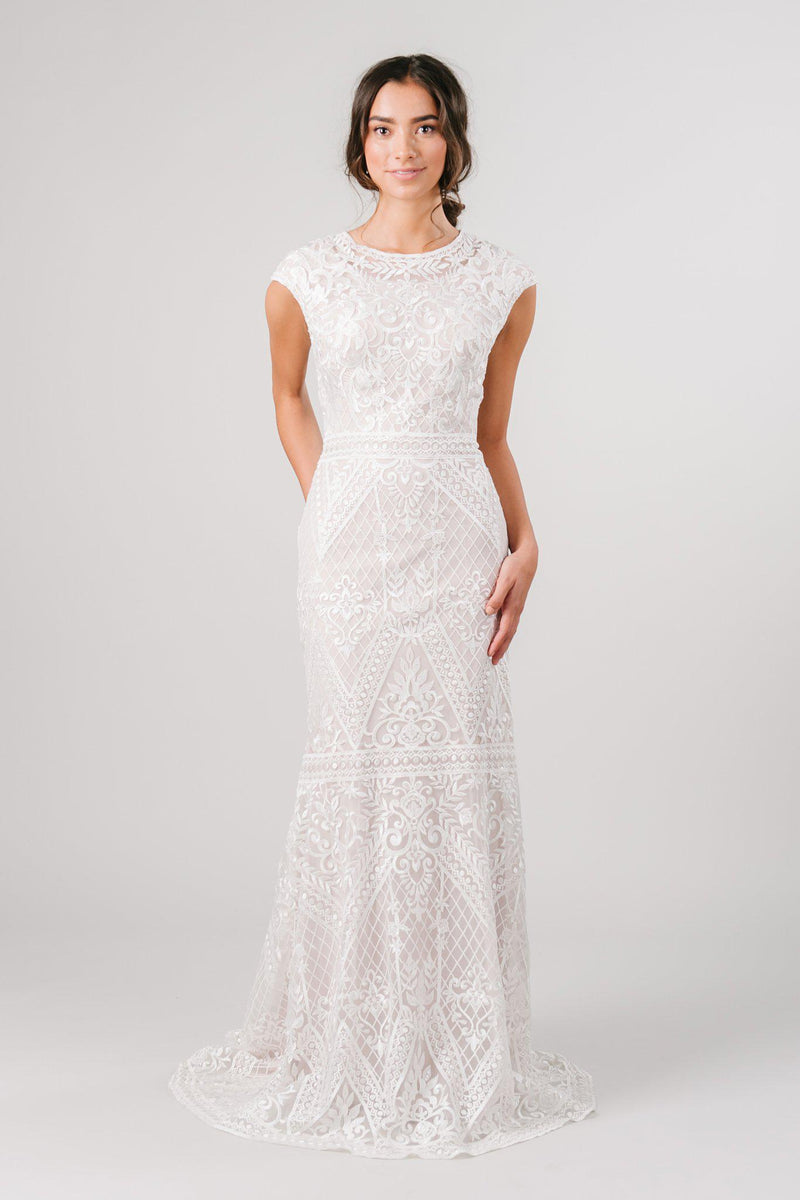 Modern modest wedding dress from LatterDayBride, a modest bridal shop in downtown Salt Lake City, Utah.